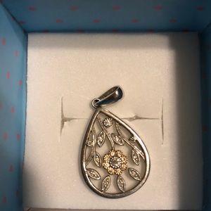 14 K White and Rose Gold diamond pendant